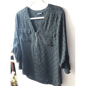 Olive green polka dot blouse